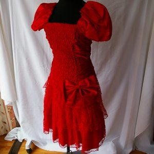 Vintage Nuance 80's 90's Prom Party Dress Red Lace
